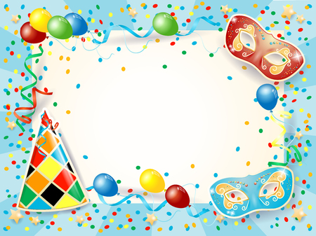 Party background with carnival masks, hat, balloon and copy space. Vector illustration eps10