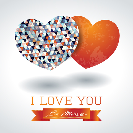 Valentine background with two hearts and message, vector illustration eps10