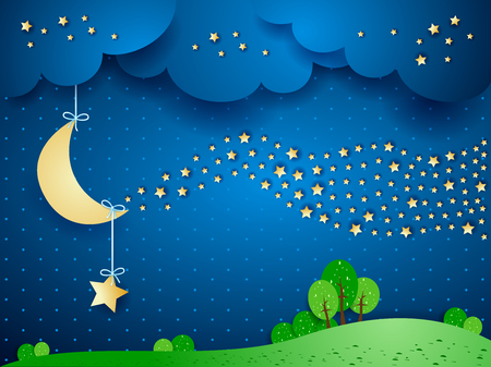 Surreal landscape by night with wave of stars. Vector illustration eps10