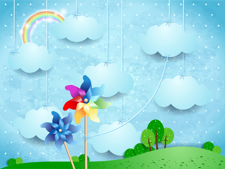 Surreal landscape with pinwheels and hanging clouds. Illustration