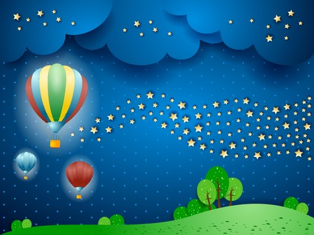 a nocturne: Surreal landscape by night with balloons and wave of stars. Vector illustration eps10