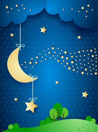 nocturne: Surreal landscape by night with wave of stars. Vector illustration eps10