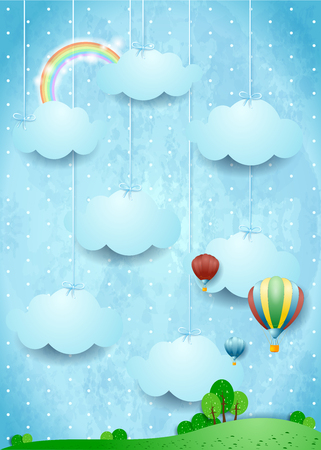 Surreal landscape with hot air balloons and hanging clouds.