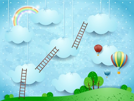 Surreal landscape with ladders and hot air balloons. Vector illustration eps10 Stock Illustratie