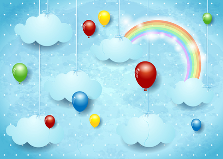 Surreal cloudscape with colorful balloons. Vector illustration