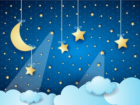 Surreal cloudscape by night with moon and hanging stars. Vector illustration.
