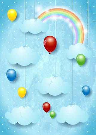 Surreal cloudscape with colorful balloons. Vector illustration.