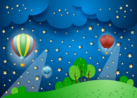 Surreal landscape by night with hot air balloons. Vector illustration eps10 Illustration