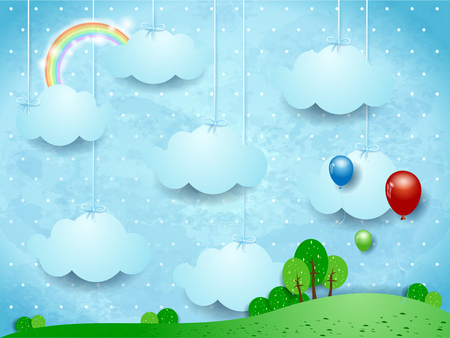 dream land: Surreal landscape with hanging clouds and balloons. Vector illustration eps10