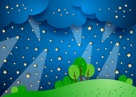 nocturne: Surreal landscape by night with spotlights, vector illustration eps10