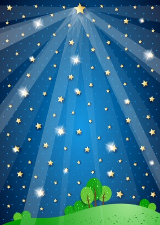 Surreal landscape with big star and lights, vector illustration eps10
