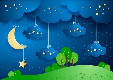 Surreal landscape by night with hanging clouds and stars. Vector illustration eps10