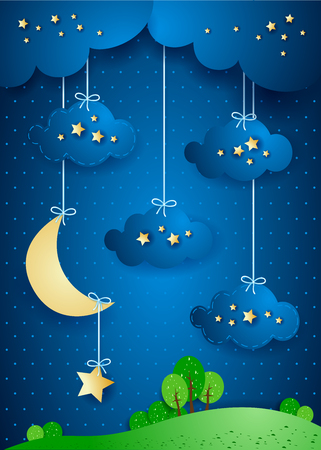 nocturne: Landscape by night with hanging clouds and stars. Vector illustration eps10 Illustration