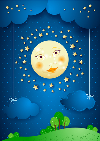 Surreal landscape by night with full moon and hanging clouds. Vector illustration eps10