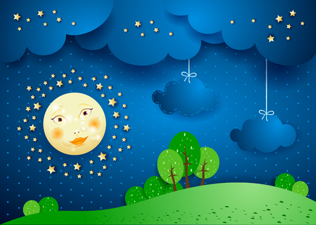 nocturne: Surreal landscape by night with full moon and hanging clouds. Vector illustration eps10