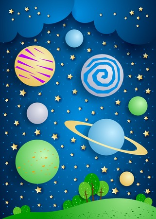 Surreal landscape with big planets in the sky, vector illustration eps10