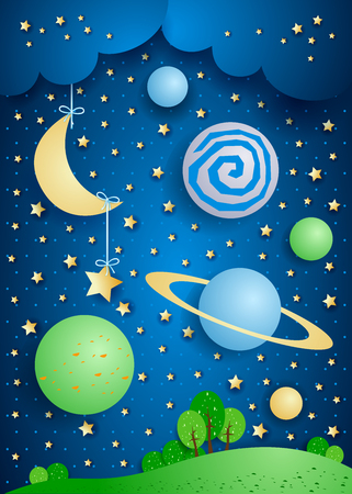nocturne: Surreal landscape with hanging moon and planets. Vector illustration eps10