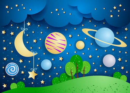Surreal landscape with hanging moon and planets. Vector illustration eps10