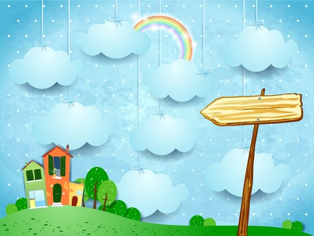 summer sky: Surreal landscape with little town and arrow sign.