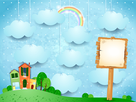 Surreal landscape with little town and wooden sign. Vector illustration eps10