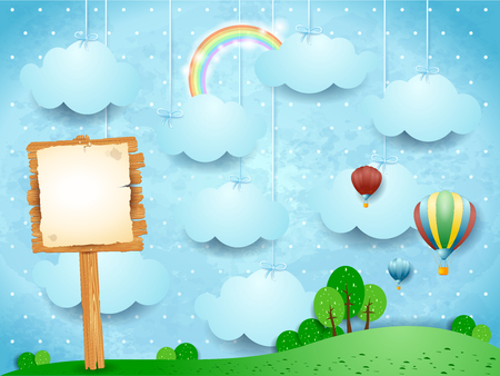 Surreal landscape with hot air balloons and wooden sign.