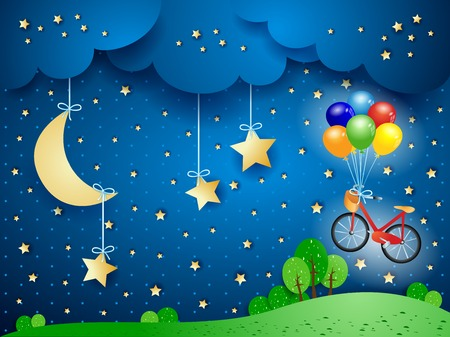Surreal landscape with hanging moon and bicycle. Vector illustration eps10