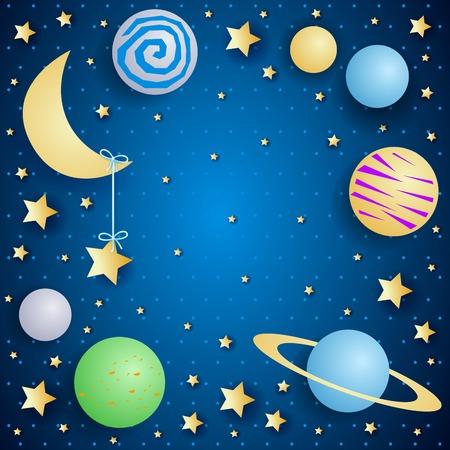 달, 행성 및 복사 공간 밤 하늘. 벡터 일러스트 레이 션 eps10 일러스트