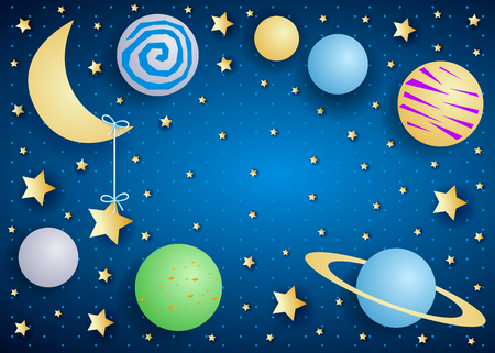 Sky by night with moon, planets and copy space. Vector illustration eps10
