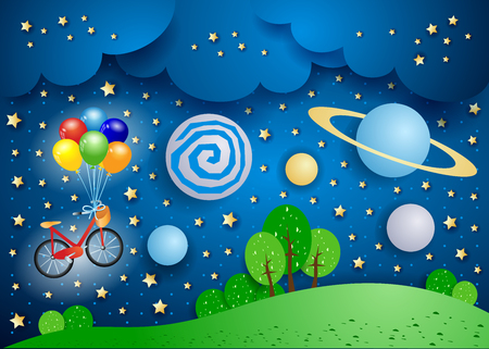 Surreal landscape with big planets and bicycle. Vector illustration eps10