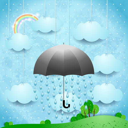 Surreal landscape with umbrella and rain, vector illustration eps10