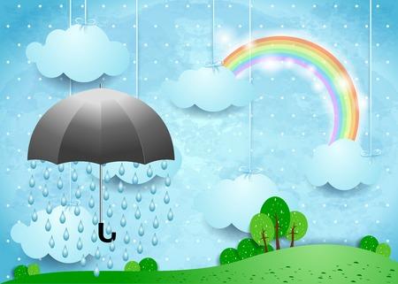 rainbow umbrella: Artistic surreal landscape with umbrella and rain, horizontal version. Vector illustration eps10