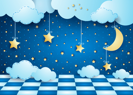 Surreal night with hanging moon, clouds and floor. Vector illustration eps10 Illusztráció