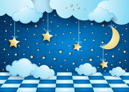 Surrealistische nacht met hangende maan, wolken en vloer. Vector illustratie eps10