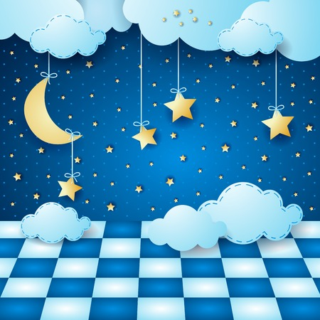 Surreal night with hanging moon, clouds and floor. Vector illustration eps10 Illustration