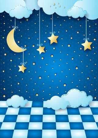 night moon: Surreal night with hanging moon, clouds and floor. Vector illustration eps10 Illustration