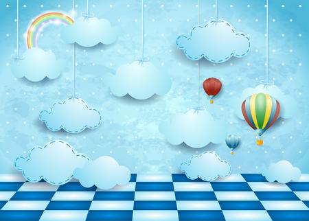 Paisaje surrealista con nubes, globos y piso colgantes. Ilustración vectorial