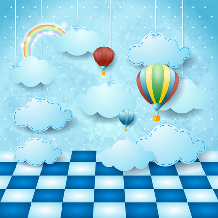 Surreal landscape with hanging clouds, balloons and floor. Vector illustration