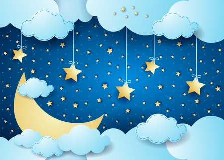 Surreal night with big moon and hanging stars. Vector illustration eps10