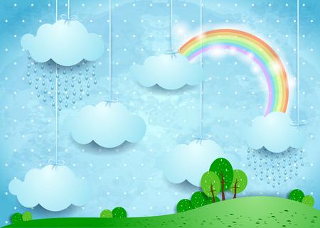 Paesaggio surreale con nuvole appese e pioggia. Illustrazione vettoriale