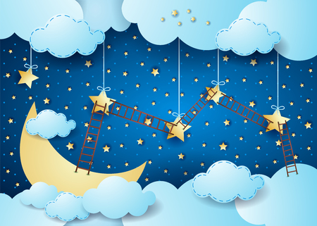 Surreal night with big moon and ladders, vector illustration eps10