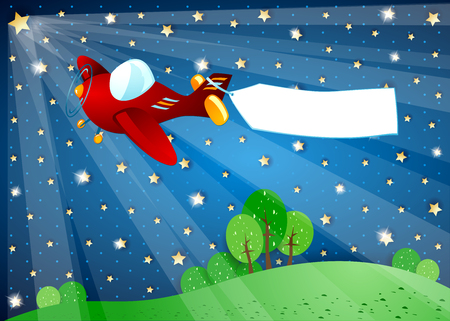Surreal night with lights, airplane and banner. Vector illustration eps10