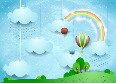 Fantasy landscape with rain and hot air balloons, vector illustration eps10 Illustration