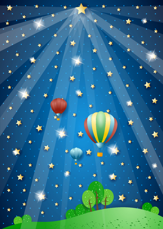 Surreal night with lights and hot air balloons. Vector illustration eps10
