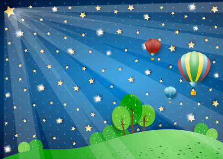 a nocturne: Surreal night with lights and hot air balloons. Vector illustration eps10