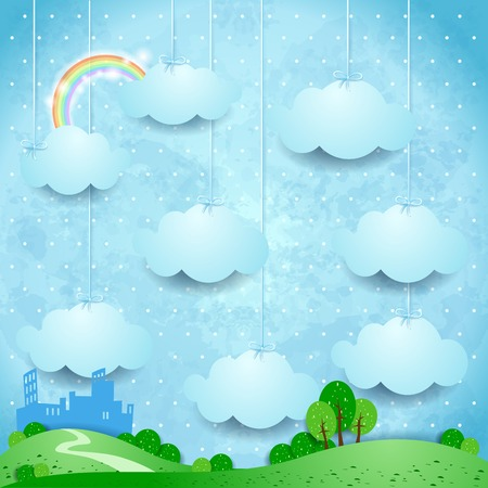 Surreal landscape with hanging clouds and small city. Vector illustration eps10 Illustration
