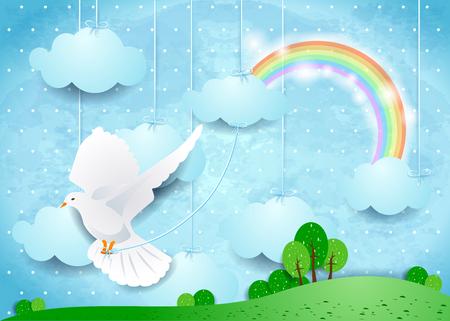 rainbow sky: Surreal landscape with dove and hanging clouds.