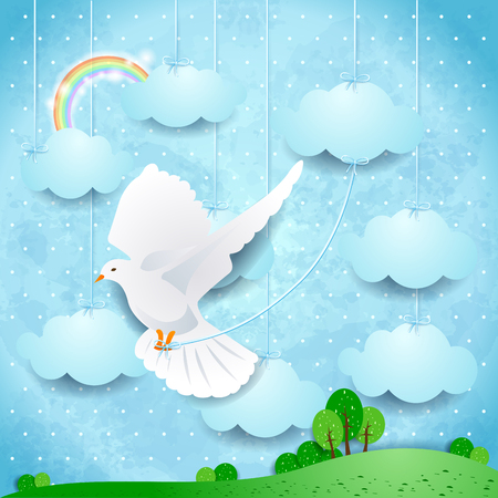 Surreal landscape with dove and hanging clouds. Vector illustration eps10