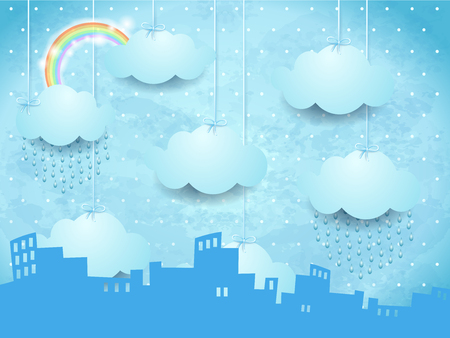 Surreal landscape with skyline and rain, vector illustration