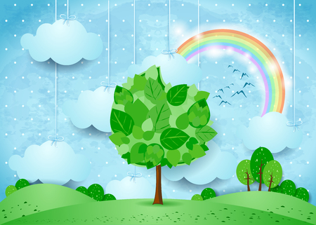 Surreal landscape with hanging clouds and big tree. Vector illustration eps10 Illustration