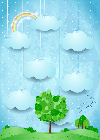 Surrel landscape with hanging clouds and big tree. Vector illustration eps10 Illustration
